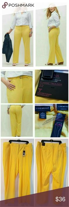 """Lane Bryant 22 Lena Yellow Trousers with T3 - NWT These Lane Bryant size 22 'Lena' Moderatley Curvy Fit Yellow Classic Trousers with Tighter Tummy Technology  (T3) are NEW With Tags. Model pics from LaneBryant.com. Waist measures 22"""" across laying flat, so 44"""" around unstretched. 31"""" inseam. 12.5"""" rise.  These have been hanging in my closet and have some creasing from the hanger as well as two small spots that would likely come out in the wash (last pic). ::: Bundle and save! ::: No trades…"""