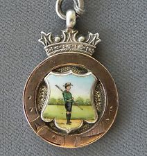 Vintage Hand Painted Enamel Scouting Sterling Silver Watch Fob Awards Medal