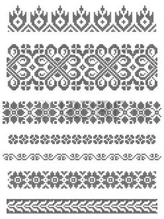 set of borders, embroidery cross, floral motifs. Stock Photo - 4808219