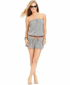 Lucky Brand Sleeveless Bandeau Romper Cover Up