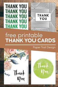 Free thank you cards to print for free. Send a budget friendly thank you card that doesn't look cheap. #papertraildesign #thankyoucard #card #cards Free Printable Birthday Cards, Printable Thank You Cards, Thank You Card Template, Printable Crafts, Party Printables, Free Printables, Sympathy Thank You Cards, Thank You Card Images, Cute Thank You Cards