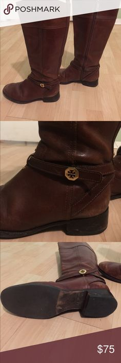 Tory Burch Riding Boots Bought these as well with the wrong calf size. They're well loved especially on the toes (see photos). Still a ton of life left in these beautiful boots. Will trade for other Tory items. Price negotiable. Tory Burch Shoes Heeled Boots