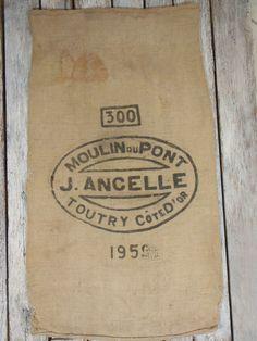 PRINTED ON 2 PANELS Vintage French Burlap by BurlapGrainSacks