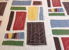 VTG retro 50s 60s fabric cotton leaf, block abstract mid century Eames Heals era