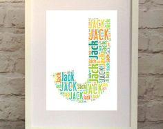 Boy\'s Initial  Nursery Decor Print  Personalised Custom Print perfect for a nursery, children\'s bedroom or playroom.    Custom made in England, ships worldwide from www.pepperdoodles... #nurserydecor #newbaby #Christening #babyshower