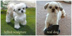 Handmade Animal Sculpture /Custom Pet Portrait / Needle Felted Miniature Dog by Gourmet Felted/ Cute / poseable / Shih Tzu /Gift Idea/ Large
