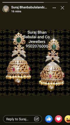 Gold Jhumka Earrings, Indian Jewelry Earrings, Gold Bridal Earrings, Gold Earrings Designs, India Jewelry, Necklace Designs, Bridal Jewelry, Gold Temple Jewellery, Gold Jewellery Design