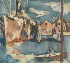 John Duncan Fergusson (British, 1874-1961),Naval Ships and Submarine, Portsmouth, c.1918. Pencil, watercolour and bodycolour, 16 x 18 in.