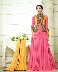 Pink and yellow jacket style floor length anarkali suit   1.Pink and yellow poly georgette silk jacket style anarkali suit2. Golden thread embroidery on sleeves3. Comes with matching bottom and dupatta4. Can be stitched upto size 44 inches