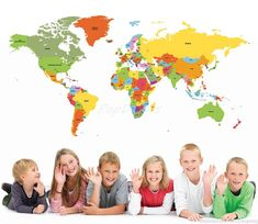 World Map Kids Wall Decals Children Wall Stickers- World Map -Educational Wall Mural Playroom Vinyls Children Must Have Wall Arts