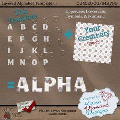 Alphabet Template v7 (CU4CU/CU/S4H/PU) [KDD_ATv7] - $1.25 : Scraps N Pieces Store