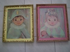 Vintage Set Of Two Framed Lithographs Prints Boy And by Bizzard