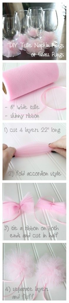 DIY Tulle Napkin Rings or Glass Rings for party and events idea. Deco Baby Shower, Fiesta Baby Shower, Girl Shower, Shower Party, Baby Shower Parties, Bridal Shower, Ballerina Birthday, Girl Birthday, Birthday Parties