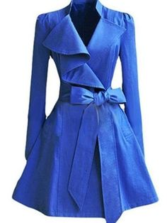 Bleu bowknot revers mince plaine trench-coat