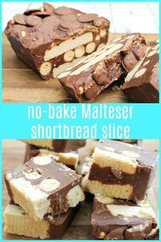 No-bake Malteser Shortbread Slice is a mega chocolatey no-bake dessert full of Maltesers, shortbread, chocolate and Malteser buttons. Tray Bake Recipes, Easy No Bake Desserts, Delicious Desserts, Cake Recipes, Dessert Recipes, Yummy Food, Baking Recipes Uk, Easy Sweets, Summer Desserts