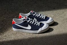 huge discount 9b240 c985f Nike SB Zoom All Court CK Midnight Navy includes a White Nike Swoosh on the  sides and toe cap with University Red heels and tongues that s available  now.