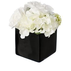 Paper Whites Hydrangea & Rose Centerpiece in Black Glass Cube ($68) ❤ liked on Polyvore featuring home, home decor, floral decor, white hydrangea centerpiece, fake flower bouquets, silk flower bouquets, fake flowers and silk flowers