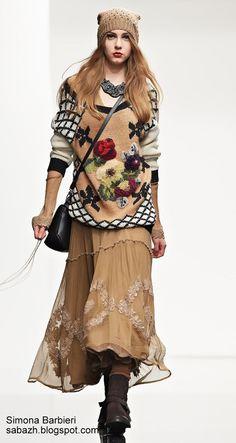 Multicolor flower jersey Twin Set autumn winter 2014 2015 - Everything About Knitting Knitwear Fashion, Knit Fashion, Boho Fashion, Autumn Fashion, Fashion Outfits, Womens Fashion, Mode Shabby Chic, Moda Crochet, Bon Look