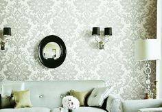 Gray and white Damask Wall Paper