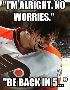 Luke Schenn after taking a puck to the face