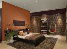 Contemporary Orange Bedroom   Mexicana (accent Wall), Midsummer Night  (soffit), Smokey Taupe 983 (ceiling) Benjamin Moore Paints Are Available At  Guiryu0027s In ...