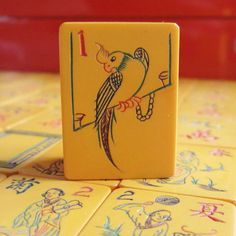 Parrot Perch Vtg 1920 30s Chinese Bakelite Mahjong Set 152 Tiles Lacquer Box | eBay