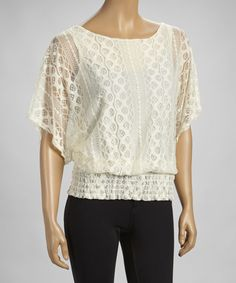 Look at this Ivory Lace Shirred Cape-Sleeve Top on #zulily today!