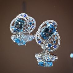 Aquamarine Earrings with diamonds and multi color sapphires set white gold
