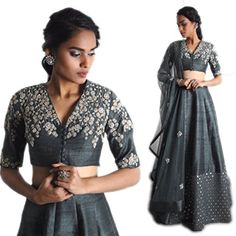 khazanakart Cotton Silk Grey Women lehenga Choli with Dup…
