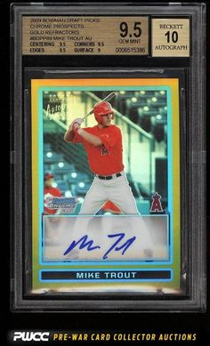 2009 Bowman Chrome Gold Refractors Mike Trout ROOKIE RC AUTO /50 BGS 9.5 (PWCC)