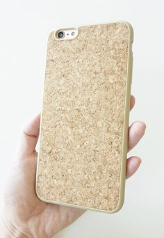 New Hot trendy modern contemporary sleek slim fit case For Apple Iphone 6 6s Plus 5.5 Plain Natural Wood cork cover handmade silicone rubber DIY by Yunikuna