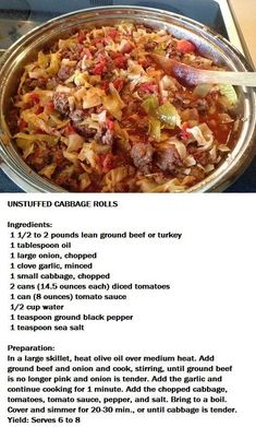 Unstuffed Cabbage Rolls - Trying this tonight! Adding rice because cabbage rolls need rice. I'm also using ground beef and ground pork. Beef Recipes, Cooking Recipes, Healthy Recipes, Crockpot Cabbage Recipes, Recipies, Advocare Recipes, Goulash Recipes, Smoker Recipes, Potato Recipes