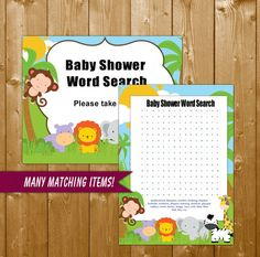Safari Animals Baby Shower Word Search Game Printable - Neutral Baby Shower Games - Instant Download - Safari Animals Baby Shower Game