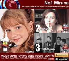BEAT100.com News - Miruna Popescu, Erenia Russo and By The Way Claim The Top Three Prizes from the BEAT100 Covers Music Video Chart