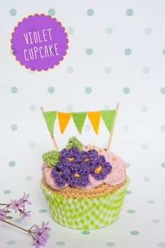 """Violet crochet cupcake by """"I am a Mess"""""""