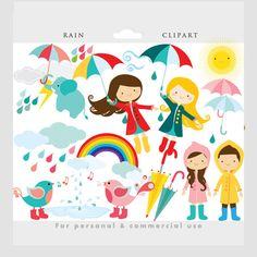 Rain clipart - rain clip art, cute, whimsical, flying girl umbrellas birds wellingtons boots, April showers, weather personal commercial use by WinchesterLambourne on Etsy https://www.etsy.com/uk/listing/173507033/rain-clipart-rain-clip-art-cute