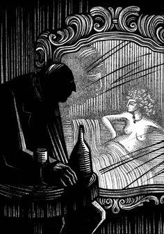 Walpurgisnacht a novel by Gustav Meyrink,  linocut illustrations by Vladimir Zimakov