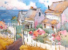 Coastal Cottages Art Print
