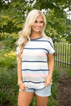 Tranquil Travels Striped Blouse Navy