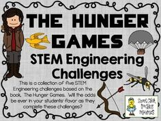 STEM Engineering Challenge Novel Pack ~ The Hunger Games by Suzanne Collins.  $  Bow and Arrow Challenge Marshmallow Cannon Challenge Stuffed Animal Snare Trap Challenge Parachute Drop Challenge Tracker Jacker Challenge