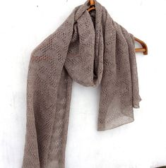 Knitted Scarves – knitted lace shawl, knitted linen scarf, wrap – a unique product by peonija on DaWanda