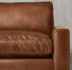 Maxwell Leather Right-Arm Sofa Chaise Sectional - Antiqued whiskey
