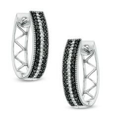 1/3 CT. T.W. Enhanced Black and White Diamond Stripe Oval Hoop Earrings in 10K White Gold