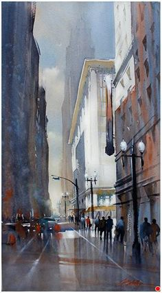 5th and Broadway - Los Angeles by Thomas W. Schaller Watercolor ~ 30 inches x 16.5 inches