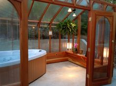 8' x 12' Nantucket Greenhouse with Hot Tub. Covered hot tub