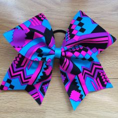 Neon Tribal Aztec Cheer Bow Purple Turquoise and by CarleysBows