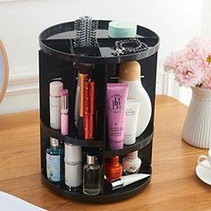 ATPWONZ Makeup Organiser 360-Degree Rotating Cosmetic Tray Multi-Function Storage Box 8 Layers for Makeup and Accessories Black: Amazon.co.uk: Kitchen & Home