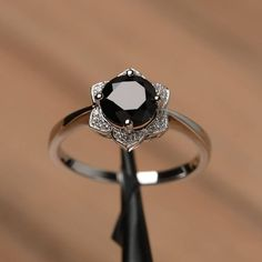 genuine black spinel ring anniversary engagement ring sterling silver round cut gemstone ring sunflower ring