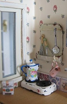 Tiny vintage enamel accessories ~ By:::  Liberty Biberty: Vintage kitchenwares for the shabby house