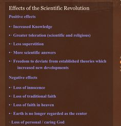 scientific revolution and how it effects It is the consequence of the enlightenment,  the effect of the enlightenment on  and then the distancing of scientific and political analysis from traditional.